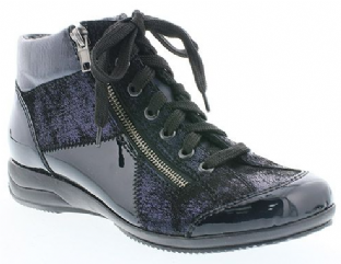 Rieker L3633-14 Ladies Navy Patent Multi Ankle Boots